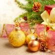 Christmas decorations with gift box — Stock Photo #7568082