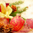 Christmas decorations with gift box — Stock Photo #7568089