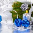 Blue christmas balls and silver candle — Stock Photo #7627270