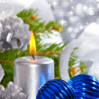 Blue christmas balls and silver candle — Stock Photo