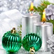 Stock Photo: Christmas balls and silver candles