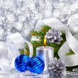 Stock Photo: Blue christmas balls and silver candle