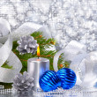 Blue christmas balls and silver candle — Stock Photo #7705855