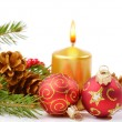 Stock Photo: Christmas balls and golden candle