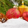 Royalty-Free Stock Photo: Christmas balls and golden candle
