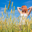 Beautiful young womat wheat field — Stock Photo #6876750