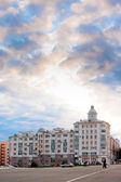 Residental house and cloudy sky — Stock Photo