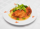 Salmon fritters with risotto — Stock Photo