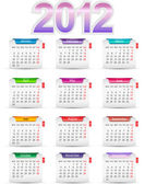 Set twelve month calendar 2012 — Stock Vector