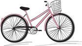 Classic ladies shopping bike. stylish illustration — Stock Vector