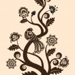 fundo floral vintage com pássaro decorativo — Vetorial Stock