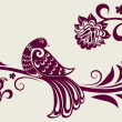 Vintage floral background with decorative bird - Vettoriali Stock 