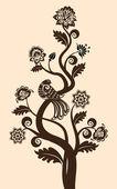 Kwiatowy tło z ozdobny ptak — Wektor stockowy