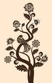 Vintage floral achtergrond met decoratieve bird — Stockvector