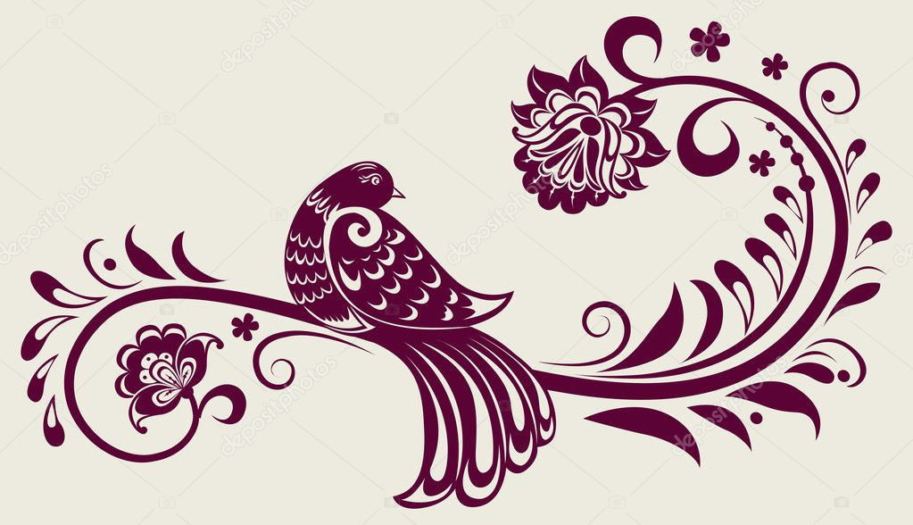 Vector vintage floral background with decorative bird — Stock Vector #6930050