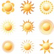 Stock Vector: Abstract sun icon collection.