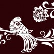 Royalty-Free Stock Векторное изображение: Decorative branch with a bird. decorative leaves