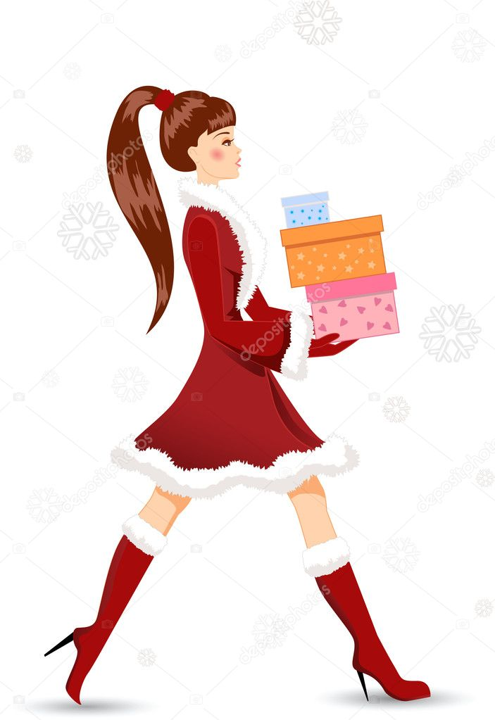 Girl with Christmas gifts. Colorful vector illustration. — Stock Vector #7697597