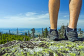 Hiker on summit — Stock Photo