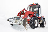 Tractor ready to work, winter snowplow — Stock Photo