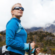 Woman hiking in mountains portrait — Stock Photo
