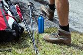 Hiker and hiking equipment — Stock Photo