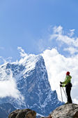 Woman hiking in Himalaya Mountains — Stock Photo