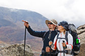 Couple Hiking in Himalaya Mountains — Stock Photo