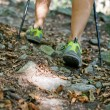Woman legs hiking in forest — Stock Photo #7571435