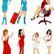 Stockvektor : Beautiful stewardess, nurse and businesswoman. Vector illustration