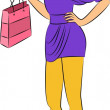 Beautiful fashion shopping girl — Stock Vector
