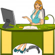Stock Vector: Beautiful business women sits in chair in office.