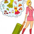 Beautiful girl with suitcase. — Stock Vector