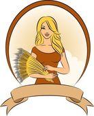 小麦捆的漂亮女孩. — 图库矢量图片