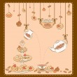 Stock Vector: Vintage tea set and sweet cakes. Vector