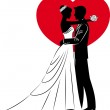 Vector Illustration of beautiful bride and groom silhouette — Stock Vector