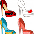 Beautiful set of shoes with high heel — Stock Vector