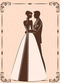 Illustration of beautiful bride and groom silhouette — Vector de stock