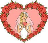 Ilustración vectorial de bella novia — Vector de stock