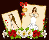 Illustration of beautiful bride and groom on a background with flowers — Stock Vector