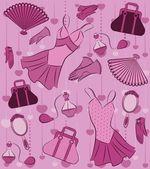 Cartoon dress, bag, perfume and shoes — Stock Vector