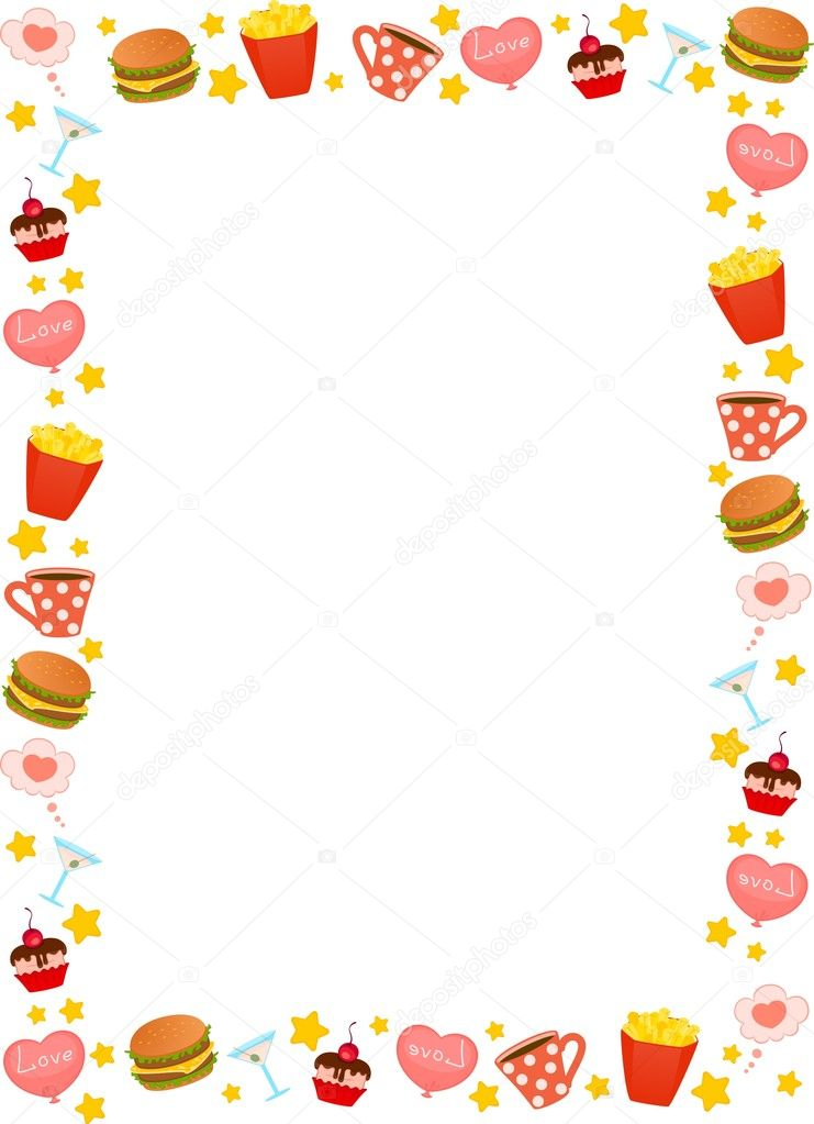 cartoon objects on white background vector food set Thanksgiving Border Clip Art Happy Thanksgiving Clip Art