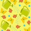 Vector happy background with watering-can, butterfly and flowers — Stock Vector #7186658