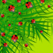 Royalty-Free Stock Vector Image: Green background with small ladybug