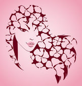 Krásná dívka s tropické květy — Stock vektor