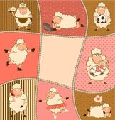 Illustration of cartoon sheep — Stock Vector