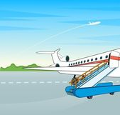 Letadlo s žebříkem na letu bar. vektorové ilustrace — Stock vektor