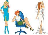 Beautiful stewardess, bride and businesswoman. Vector illustration — Stock Vector