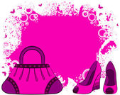 Cartoon woman bag and shoes. — Stock Vector