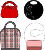 Cartoon woman bag. Vector set — Stockvector